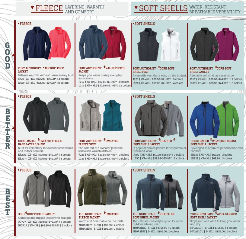 Fleece and Soft Shell Options to Customize at Branded